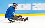 Sochi 2014 - Para Ice Hockey // Para-hockey sur glace.<br /> Canada's Para Ice Hockey team practices before the games begin // L'équipe canadienne de para hockey sur glace s'entraîne avant le début des matchs. 02/03/2014.