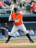 Infielder Brendan Harris (16) of the Norfolk Tides, International League affiliate of the Baltimore Orioles, in a game against the Scranton/Wilkes-Barre Yankees on June 20, 2011, at PNC Park in Moosic, Pennsylvania. (Tom Priddy/Four Seam Images).
