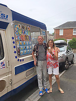 BNPS.co.uk (01202) 558833<br /> Pic: KevinBetteridge/BNPS<br /> <br /> Kevin with his sister Bev in Swanage<br /> <br /> Ice cream man Kevin Bettteridge makes an epic 750 mile round trip to the seaside to sell his goods.<br /> <br /> Kevin lives in Newcastle but drives 10 hours to Swanage, Dorset, every summer. <br /> <br /> His parents moved to the south coast 25 years ago and the 64-year-old spends three weeks of the year visiting them.