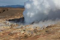 Gunnuhver, Südwesten Island, westlich des Fischerortes Grindavík, Hochtemperaturgebiet, Geothermalgebiet, Thermalquellen, Thermalquelle, heiße Quellen, Schwefeldampf, Schwefeldämpfe, Vulkansystem, Vulkanismus, Vulkan, Reykjanes, Halbinsel Reykjanes, geothermal area, Iceland