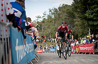 Luke Rowe (GBR/Ineos) escorting Wout Poels (NED/Ineos) up the gravel section in the final stretch to the finish line up La Planche des Belles Filles<br /> <br /> Stage 6: Mulhouse to La Planche des Belles Filles (157km)<br /> 106th Tour de France 2019 (2.UWT)<br /> <br /> ©kramon