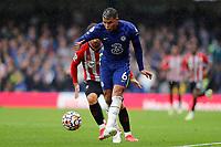 2nd October 2021; Stamford Bridge, Chelsea, London, England; Premier League football Chelsea versus Southampton; Thiago Silva of Chelsea passing the ball into midfield