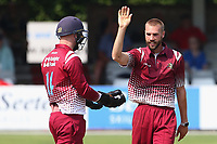 Ben Clilverd of Cambridgeshire celebrates taking the wicket of Ryan ten Doeschate during Essex Eagles vs Cambridgeshire CCC, Domestic One-Day Cricket Match at The Cloudfm County Ground on 20th July 2021