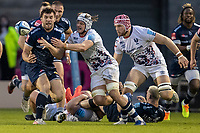 28th May 2021; AJ Bell Stadium, Salford, Lancashire, England; English Premiership Rugby, Sale Sharks versus Bristol Bears; Cameron Neild of Sale Sharks is tackled by Dave Attwood of Bristol Bears