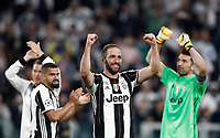 Football Soccer: UEFA Champions League semifinal second leg Juventus - Monaco, Juventus stadium, Turin, Italy,  May 9, 2017. <br /> Juventus players celebrate after winner the Uefa Champions League football match between Juventus and Monaco at Juventus stadium, on May 9, 2017.<br /> UPDATE IMAGES PRESS/Isabella Bonotto