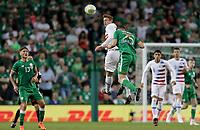 Dublin, Ireland - Saturday June 02, 2018: Josh Sargent, Darragh Lenihan during an international friendly match between the men's national teams of the United States (USA) and Republic of Ireland (IRE) at Aviva Stadium.