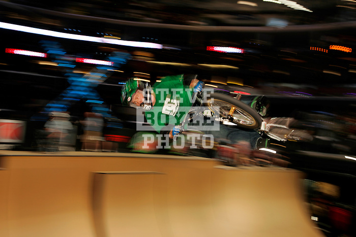 Chad Kagy competes in the BMX Freestyle Vert finals during X-Games 12 in Los Angeles, California on August 4, 2006.