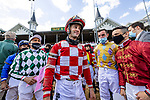 APRIL 30, 2021:  Flavien Prat , Florent Geroux and Umberto Rispoli  share a laugh at Churchill Downs in Louisville, Kentucky on April 30, 2021. EversEclipse Sportswire/CSM