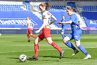 Sheryl Merchiers (11) of Zulte-Waregem and midfielder Lorene Martin (6) of KRC Genk pictured during a female soccer game between  Racing Genk Ladies and SV Zulte-Waregem on the 18 th and last matchday before the play offs of the 2020 - 2021 season of Belgian Scooore Womens Super League , saturday 27 th of March 2021  in Genk , Belgium . PHOTO SPORTPIX.BE | SPP | JILL DELSAUX