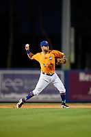 St. Lucie Mets third baseman Michael Paez (5) throws to first base during a game against the Daytona Tortugas on August 3, 2018 at First Data Field in Port St. Lucie, Florida.  Daytona defeated St. Lucie 3-2.  (Mike Janes/Four Seam Images)