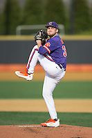 Clemson Tigers starting pitcher Clate Schmidt (32) in action against the Wake Forest Demon Deacons at David F. Couch Ballpark on March 12, 2016 in Winston-Salem, North Carolina.  The Tigers defeated the Demon Deacons 6-5.  (Brian Westerholt/Four Seam Images)