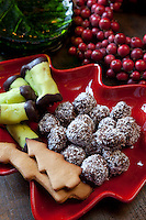 Detail of a festive platter with Swedish Christmas petits fours