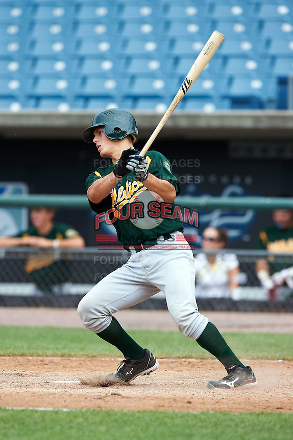 Jordan McDonough #35 of St. Xavier High School in Liberty Township, Ohio playing for the Oakland Athletics scout team during the East Coast Pro Showcase at Alliance Bank Stadium on August 3, 2012 in Syracuse, New York.  (Mike Janes/Four Seam Images)