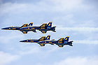 U.S. Navy Lieutenant Commander John Hlitz '02 flies the #2, or right wing jet with the Blue Angels.<br /> <br /> Photo by Matt Cashore/University of Notre Dame