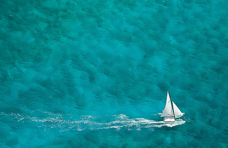 Hobie cat off the south coast, Barbados