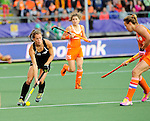 The Hague, Netherlands, June 05: Petrea Webster #6 of New Zealand looks to pass during the field hockey group match (Women - Group A) between New Zealand and The Netherlands on June 5, 2014 during the World Cup 2014 at Kyocera Stadium in The Hague, Netherlands. Final score 0-2 (0-2) (Photo by Dirk Markgraf / www.265-images.com) *** Local caption ***