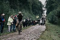 Wout van Aert (BEL/Jumbo-Visma) through the Arenberg Forest / Trouée d'Arenberg / Bois de Wallers<br /> <br /> 118th Paris-Roubaix 2021 (1.UWT)<br /> One day race from Compiègne to Roubaix (FRA) (257.7km)<br /> <br /> ©kramon