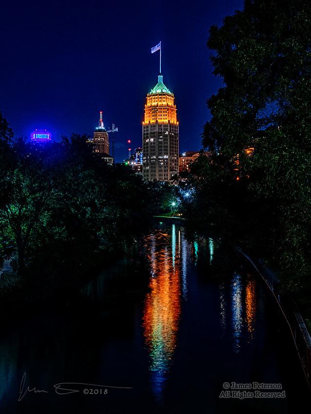 San Antonio City Lights ©2018 James D Peterson.  The lights of this South Texas metropolis cast a warm glow on the San Antonio River.