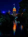 San Antonio City Lights ©2018 James D Peterson.  The lights of this South Texas metropolis cast a warm glow on the San Antonio River.