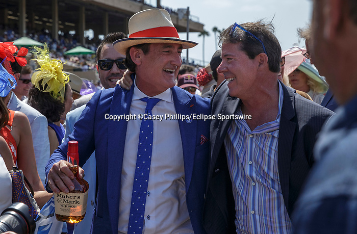 DEL MAR, CA  JULY 16: Celebrating winning the third race on July 16, 2021 at Del Mar Thoroughbred Club in Del Mar, Ca. (Photo by Casey Phillips/Eclipse Sportswire/CSM)
