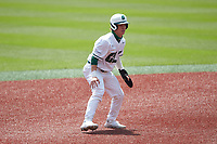 Dominic Pilolli (22) of the Charlotte 49ers takes his lead off of second base against the UTSA Roadrunners at Hayes Stadium on April 18, 2021 in Charlotte, North Carolina. (Brian Westerholt/Four Seam Images)