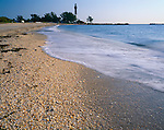 Broward County, FL<br /> Sea shells cover the shoreline of Pompano Beach with Hillsboro Inlet Lighthouse (1906) in the distance