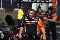 May 16, 2014; Commerce, GA, USA; Crew chief for NHRA top fuel dragster driver Clay Millican during qualifying for the Southern Nationals at Atlanta Dragway. Mandatory Credit: Mark J. Rebilas-USA TODAY Sports