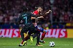 Yannick Ferreira Carrasco of Atletico de Madrid fights for the ball with N'Golo Kante and Victor Moses of Chelsea FC during the UEFA Champions League 2017-18 match between Atletico de Madrid and Chelsea FC at the Wanda Metropolitano on 27 September 2017, in Madrid, Spain. Photo by Diego Gonzalez / Power Sport Images