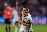 LE HAVRE,  - JUNE 20: Tobin Heath #17 celebrates her goal during a game between Sweden and USWNT at Stade Oceane on June 20, 2019 in Le Havre, France.