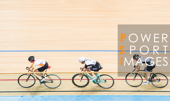 (L-R) John Nicolas Plesich of Omicron, Chau Dor Ming Dominic of Team Champion System-CSR and Chiu Lok Ngan of CMS compete during the Open 30km Points Race at the Hong Kong Track Cycling Race 2017 Series 5 on 18 February 2017 at the Hong Kong Velodrome in Hong Kong, China. Photo by Marcio Rodrigo Machado / Power Sport Images