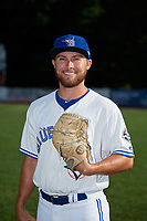Bluefield Blue Jays pitcher Cre Finfrock (22) poses for a photo before a game against the Bristol Pirates on July 26, 2018 at Bowen Field in Bluefield, Virginia.  Bristol defeated Bluefield 7-6.  (Mike Janes/Four Seam Images)