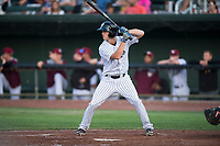 Idaho Falls Chukars left fielder Hunter Strong (3) at bat during a Pioneer League game against the Great Falls Voyagers at Melaleuca Field on August 18, 2018 in Idaho Falls, Idaho. The Idaho Falls Chukars defeated the Great Falls Voyagers by a score of 6-5. (Zachary Lucy/Four Seam Images)
