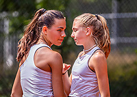 Hilversum, Netherlands, August 5, 2021, Tulip Tennis center, National Junior Tennis Championships 16 and 18 years, NJK, Doubles girls 16 years, Diede van Gelder (NED)  and Charlotte Pikkaart (NED)<br /> Photo: Tennisimages/Henk Koster