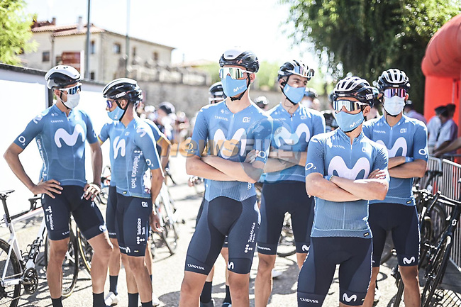 Movistar Team at sign on before Stage 3 of La Vuelta d'Espana 2021, running 202.8km from Santo Domingo de Silos to Picon Blanco, Spain. 16th August 2021.    <br /> Picture: Unipublic/Charly Lopez   Cyclefile<br /> <br /> All photos usage must carry mandatory copyright credit (© Cyclefile   Unipublic/Charly Lopez)