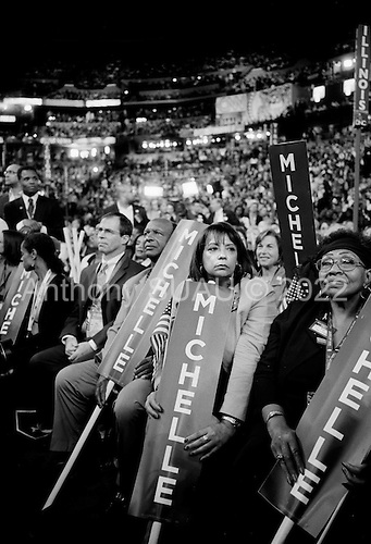 Denver, Colorado.August 25, 2008..The opening day of the Democratic National Convention in the Pepsi Center. Illinois delegates wait for Michele Obama to speak.