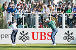 Justin Rose of England (right) and Brett Rumford of Australia (left) practice before teeing off the first hole during the 58th UBS Hong Kong Golf Open as part of the European Tour on 10 December 2016, at the Hong Kong Golf Club, Fanling, Hong Kong, China. Photo by Marcio Rodrigo Machado / Power Sport Images