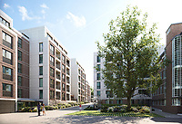 BNPS.co.uk (01202) 558833. <br /> Pic: Savills/BNPS<br /> <br /> Pictured: Hornsey Town Hall exterior.<br /> <br /> Apartments in the grounds of an iconic 1930s building where Queen first appeared in concert and the TV series Whitechapel was filmed, have gone on sale.<br /> <br /> The new owners will live alongside Hornsey Town Hall, which has appeared in a string of movies and TV series including The Crown and Killing Eve.<br /> <br /> Rock band Queen performed their first concert there in 1971 as a supporting band and part of the 2018 film Bohemian Rhapsody starring Rami Malek was made there.<br /> <br /> The flats, which start from £505,000, are part of the development of the iconic modernist building in Crouch End, North London.