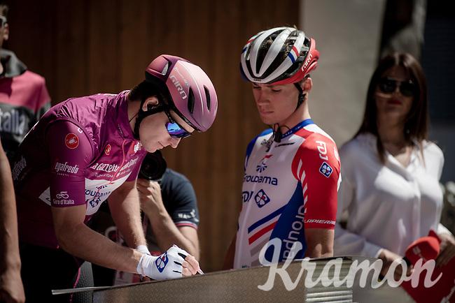 Maglia Ciclamino / points leader Arnaud Démare (FRA/Groupama-FDJ) signing on<br /> <br /> Stage 18: Valdaora/Olang to Santa Maria di Sala (222km)<br /> 102nd Giro d'Italia 2019<br /> <br /> ©kramon