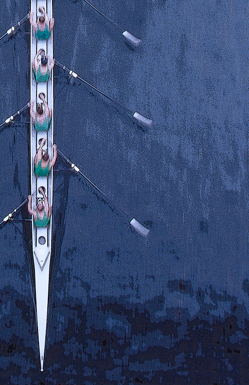 Rowing, Seattle, Rowers in an eight-oared racing shell from above, bow on, blur motion, Windermere Cup Regatta, Lake Washington Ship Canal, Opening day of the competitive rowing season,.