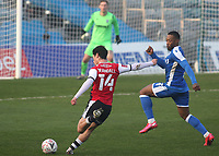 Joel Randall of Exeter City takes a shot at the Gillingham goal during Gillingham vs Exeter City, Emirates FA Cup Football at the MEMS Priestfield Stadium on 28th November 2020