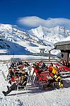 Switzerland, Valais, Saas Fee, Ski hut at Felskinn with Taeschhorn Mountain (4.491 m)