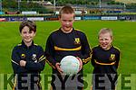 Ayrton McGough, Samuel and Dominik Cugumovs getting into football mode at Dr Crokes