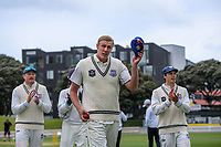 Kyle Jamieson celebrates his 5-wicket haul during day three of the Plunket Shield match between the Wellington Firebirds and Auckland Aces at the Basin Reserve in Wellington, New Zealand on Monday, 16 November 2020. Photo: Dave Lintott / lintottphoto.co.nz