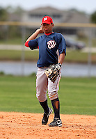 March 22, 2010:  Second Baseman Adrian Sanchez of the Washington Nationals organization during Spring Training at the Carl Barger Training Complex in Melbourne, FL.  Photo By Mike Janes/Four Seam Images