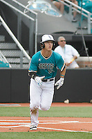 University of Coastal Carolina Chanticleers second baseman Seth Lancaster (26) at bat during a game against the University of Virginia Cavaliers at Springs Brooks Stadium on February 21, 2016 in Conway, South Carolina. Coastal Carolina defeated Virginia 5-4. (Robert Gurganus/Four Seam Images)