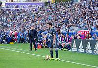 CARSON, CA - SEPTEMBER 29: Russell Teibert #31 of the Vancouver Whitecaps looks for help during a game between Vancouver Whitecaps and Los Angeles Galaxy at Dignity Health Sports Park on September 29, 2019 in Carson, California.