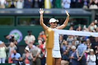 10th July 2021. Wilmbledon, SW London England. Wimbledon Tennis Championships 2021, Ladies singles final Ashleigh Barty versus  Karolina Pliskova (Czech);  Ashleigh Barty (Aus) celebrates her win