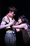 "Reeve Carney and Eva Noblezada during the Broadway Press Performance Preview of ""Hadestown""  at the Walter Kerr Theatre on March 18, 2019 in New York City."