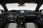 Stock photo of straight dashboard view of 2020 Peugeot e-2008 GT 5 Door SUV Dashboard