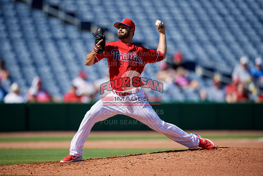 Philadelphia Phillies relief pitcher Adam Morgan (46) delivers a pitch during a Grapefruit League Spring Training game against the Baltimore Orioles on February 28, 2019 at Spectrum Field in Clearwater, Florida.  Orioles tied the Phillies 5-5.  (Mike Janes/Four Seam Images)